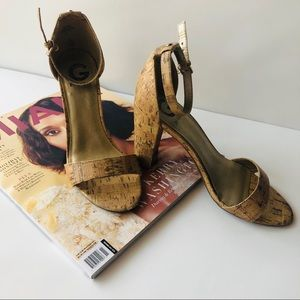 Guess Women's Shoes Tan Cork Ankle Strap Heels 9